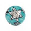 Türkiser Möbelknauf mit orientalischer Sternblume