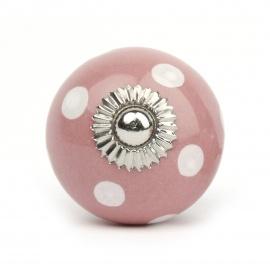Knauf Punkte rosa/weiß