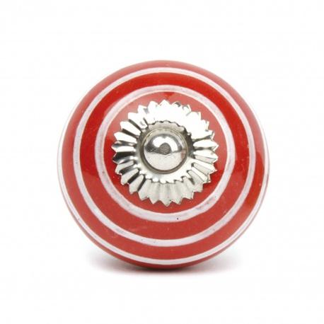 Großer roter Möbelknauf mit weißen Streifen