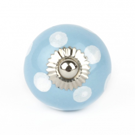 Handbemalter Möbelknauf in hellblau mit weißen Punkten