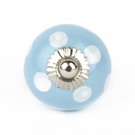 Knauf Punkte hellblau/weiß