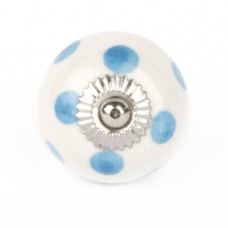 Knauf Punkte weiß/hellblau