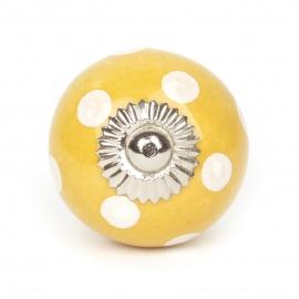 Großer handbemalter gelber Keramikknauf mit Punkten