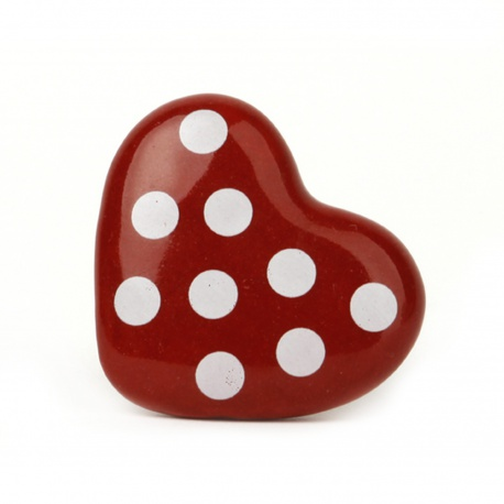 Möbelknauf in Herzform rot mit weißen Punkten