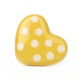 Möbelknauf in Herzform gelb mit Punkten