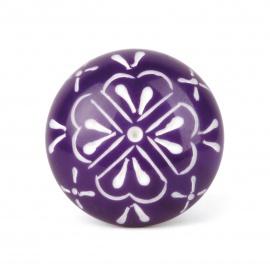 Knauf Blüte violett/weiß