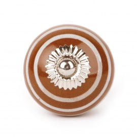 Kleiner brauner Keramikknauf mit weißen Streifen