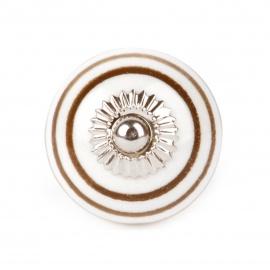 Kleiner weißer Möbelknopf mit braunen Streifen