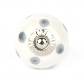 Kleiner Möbelkopf weiß mit grauen Punkten