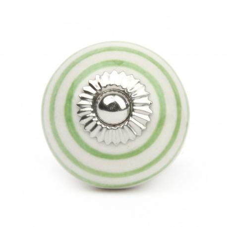 Weißer Möbelknauf in klein mit grünen Streifen