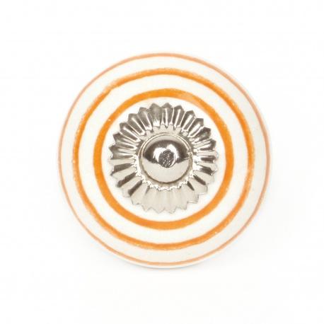 Kleiner weißer Möbelknauf mit orangen Streifen