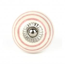 Kleiner weißer Möbelknauf mit handbemalten Streifen in rosa