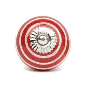 Kleiner roter Möbelknopf mit weißen Streifen