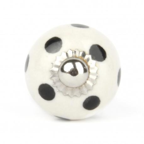 Möbelknauf klein in weiß mit schwarzen Punkten