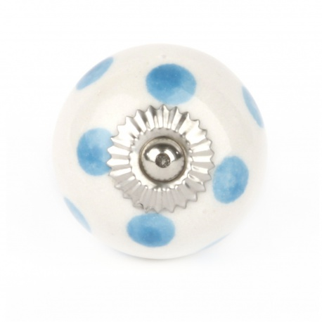 Möbelknauf in klein in weiß mit hellblauen Punkten