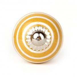 Kleiner gelber Möbelknauf mit weißen Streifen