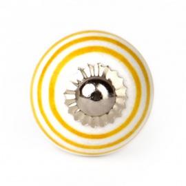 Kleiner Möbelknauf in weiß mit gelben Streifen