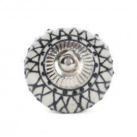 Keramikknauf mit schwarzen orientalischen Mustern