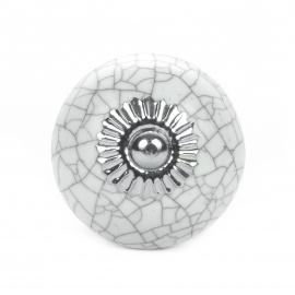 Möbelknauf mit marmoriertem Muster in weiß