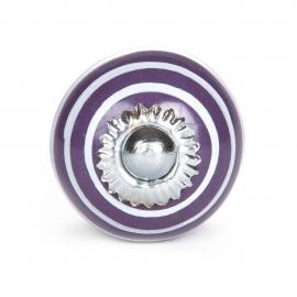 Kleiner lila Möbelknopf mit weißen Streifen