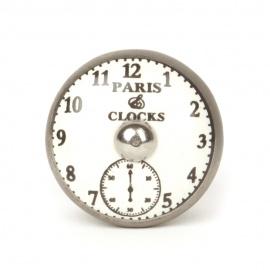 Flacher Möbelknauf aus Keramik mit Aufdruck Paris Uhr