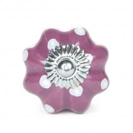 Kürbisknauf in lila mit weißen Punkten