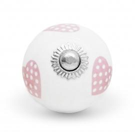 Möbelknauf mit handbemalten Herzen in rosa mit weißen Punkten
