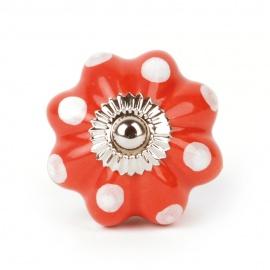 Großer roter Möbelknauf in Blumenform mit weißen Punkten