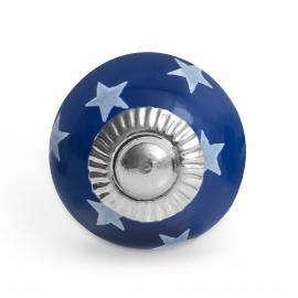 Kleiner dunkelblauer Möbelknauf mit handbemalten Sternen