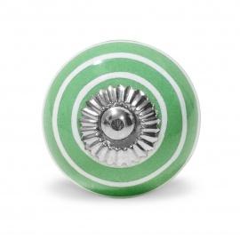 großer Knauf in grün mit weißen Streifen