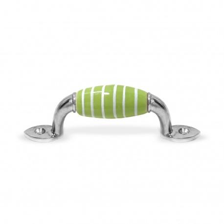Möbelgriff klein grün Streifen weiß