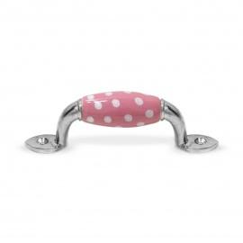Möbelgriff klein rosa Punkte weiß