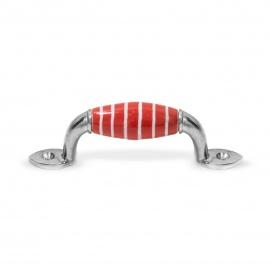 Möbelgriff klein rot Streifen weiß