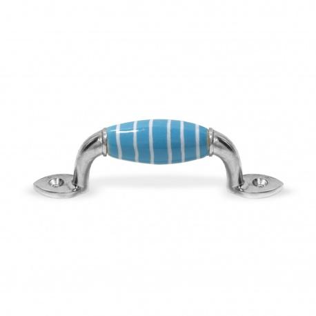 Möbelgriff klein hellblau Streifen weiß
