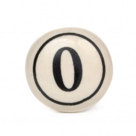 Möbelknauf im Vintage look mit Nummer 0 Aufdruck