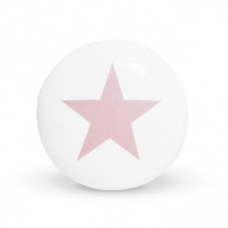 Weißer Keramikknauf mit rosa Sternaufdruck