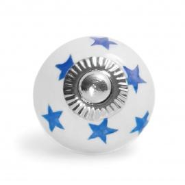 Kleiner weißer Möbelknopf mit handbemalten Sternen in dunkelblau