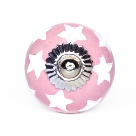 Rosa Möbelknauf mit handbemaltem Sternenmuster