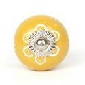 Gelber Möbelknauf in groß mit Sonnenblumenmuster