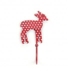 Kinderhaken Bambi in rot mit weißen Punten