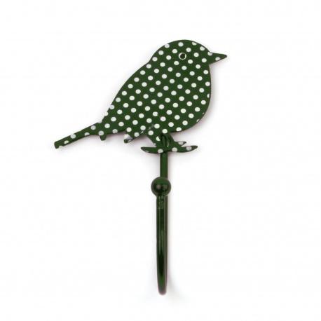 Kinderhaken Vögelchen dunkelgrün mit Pünktchen