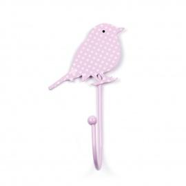 Kinderhaken Vögelchen rosa Pünktchen