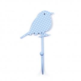 Kinderhaken Vögelchen hellblau mit Pünktchen