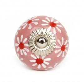 Großer rosa Möbelknauf aus Keramik mit handbemaltem Blumenmuster