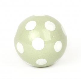 Möbelknöpf in Ballform mintgrün mit weißen Punkten