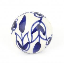 Knauf floral weiß/blau