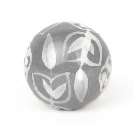 Knauf floral grau/weiß