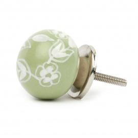 Möbelknauf in Ballform in grün mit floralem Bauernmuster