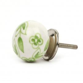 Runder großer Ballknauf in weiß mit grünem floralem Bauernmuster