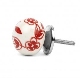 Runder großer Ballknauf in weiß mit rotem floralem Bauernmuster